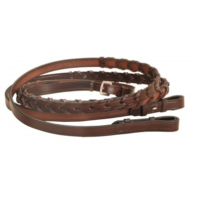 Tory Leather English Laced Rein with Stud Hooks