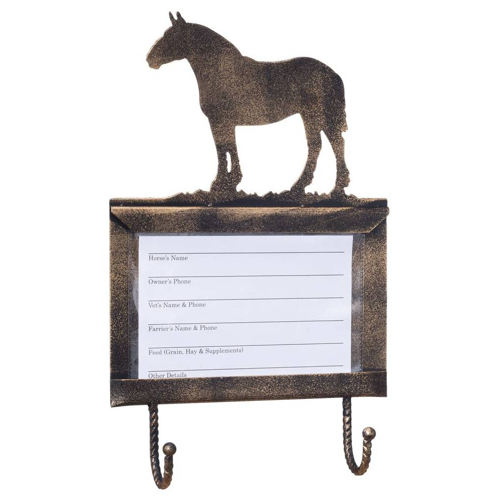 Tough-1 Deluxe Stall Card Holder with Hooks - Draft Horse