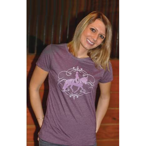 Genuine Equestrian Swirly Dressage Tee with Crystals - Ladies
