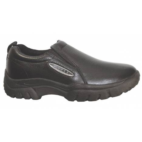 Roper Classic Tumbled Leather Slip-On Shoes - Mens, Black