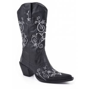 Roper Fashion Embroidered Star Faux Leather Boots - Ladies, Black