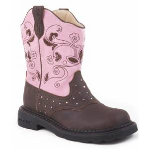 Roper Faux Leather Lights Boots - Girls, Pink Dazzle