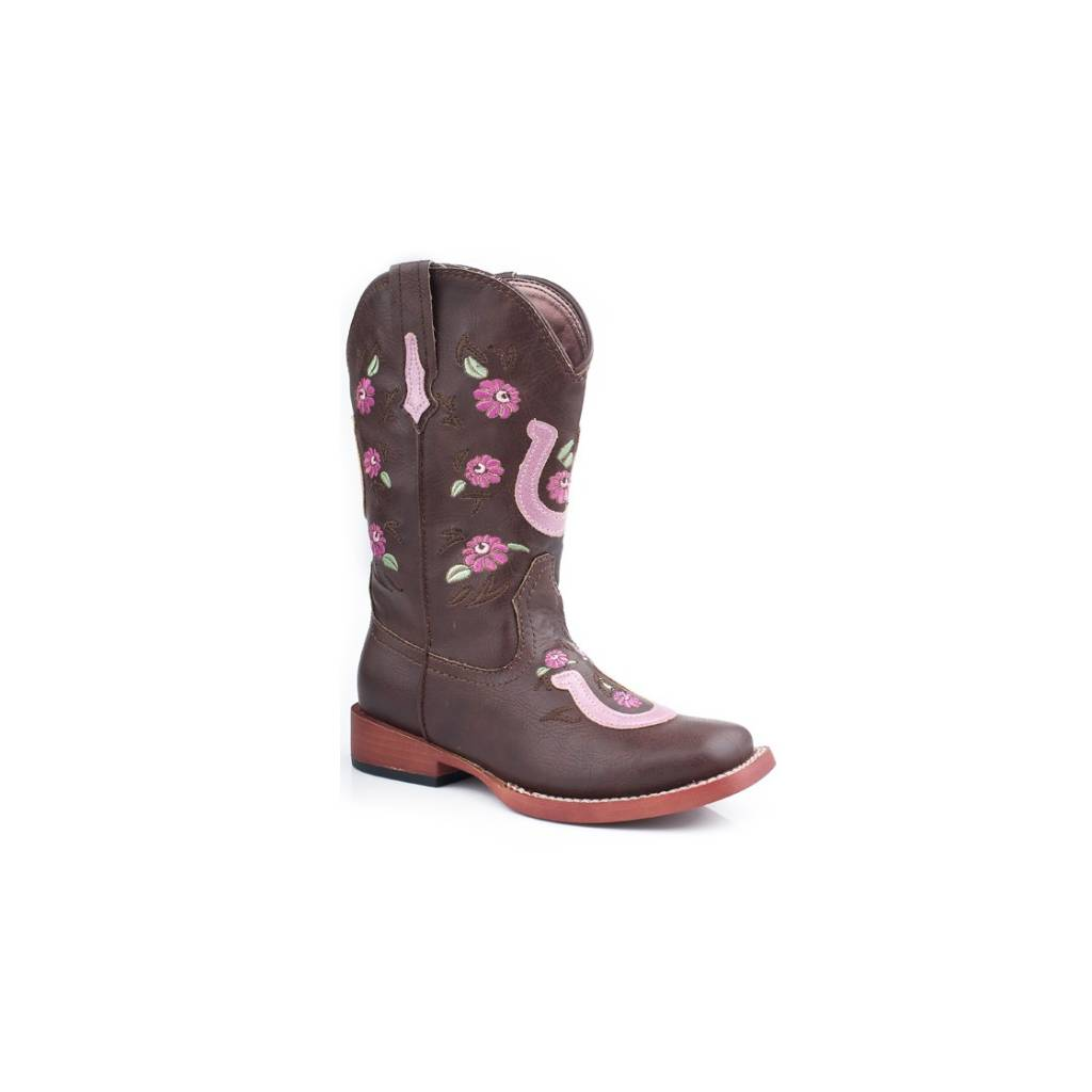Roper Embroidered Flower Horseshoe Overlay Boots - Kids, Brown/Pink