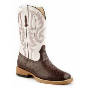 Roper Ostrich Print Square Toe Boots - Kids, Brown