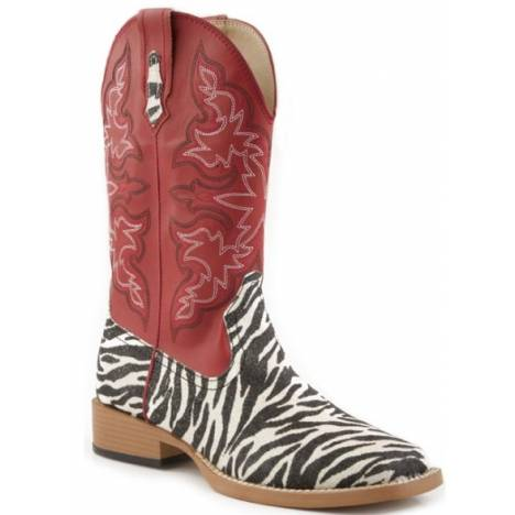Roper Bling Wide Toe Faux Leather Western Boots - Ladies, Red/Imitation Print