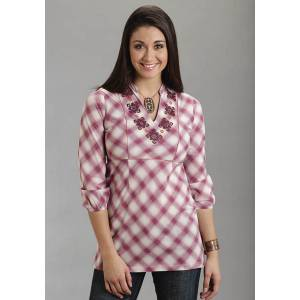 Stetson Plaid Tunic Top - Ladies - Pink
