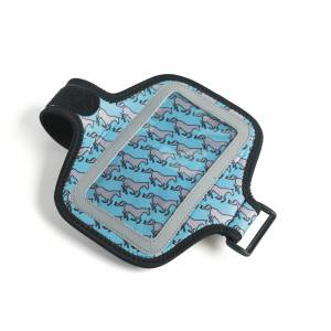 Kelley Neoprene Smartphone Case with  Arm/Leg Band - Aqua & Grey Galloping Horses
