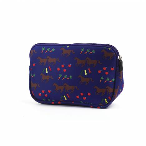 Kelley Neoprene Trianglular Cosmetic Case - Horses & Apples
