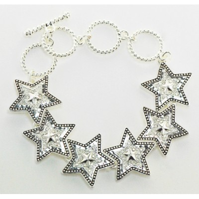 Western Edge Jewelry Crystal Star Toggle Bracelet