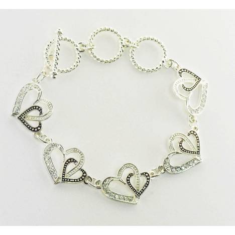 Western Edge Jewelry Double Heart Toggle Bracelet