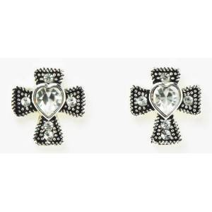 Western Edge Jewelry Cross With Heart Earrings