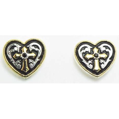 Western Edge Jewelry Western Heart And Cross Earrings