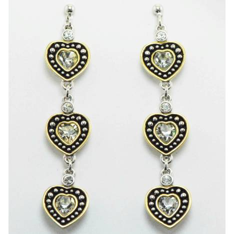 Western Edge Jewelry Triple Heart Rope Earrings