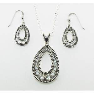 Western Edge Jewelry Crystal Teardrop Jewelry Set