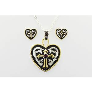 Western Edge Jewelry Western Heart And Cross Jewelry Set