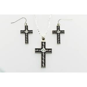 Western Edge Jewelry Barb Wire Cross Jewelry Set