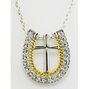 Western Edge Jewelry Rope Horseshoe Cross Necklace