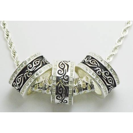 Western Edge Jewelry 3 Ring Filigree Crystal Necklace