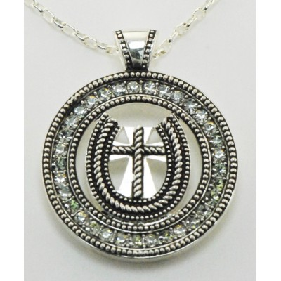 Western Edge Jewelry Round Cross Necklace