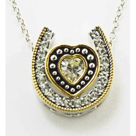 Western Edge Jewelry Double Horseshoe Heart Necklace
