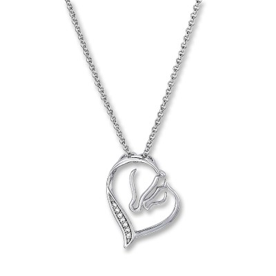 Mare & Foal Heart Necklace