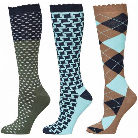 Equine Couture Blue Medley Socks - Ladies