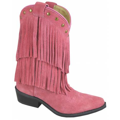 Smoky Mountain Youth Wisteria Double Fringe Leather Boots - Pink