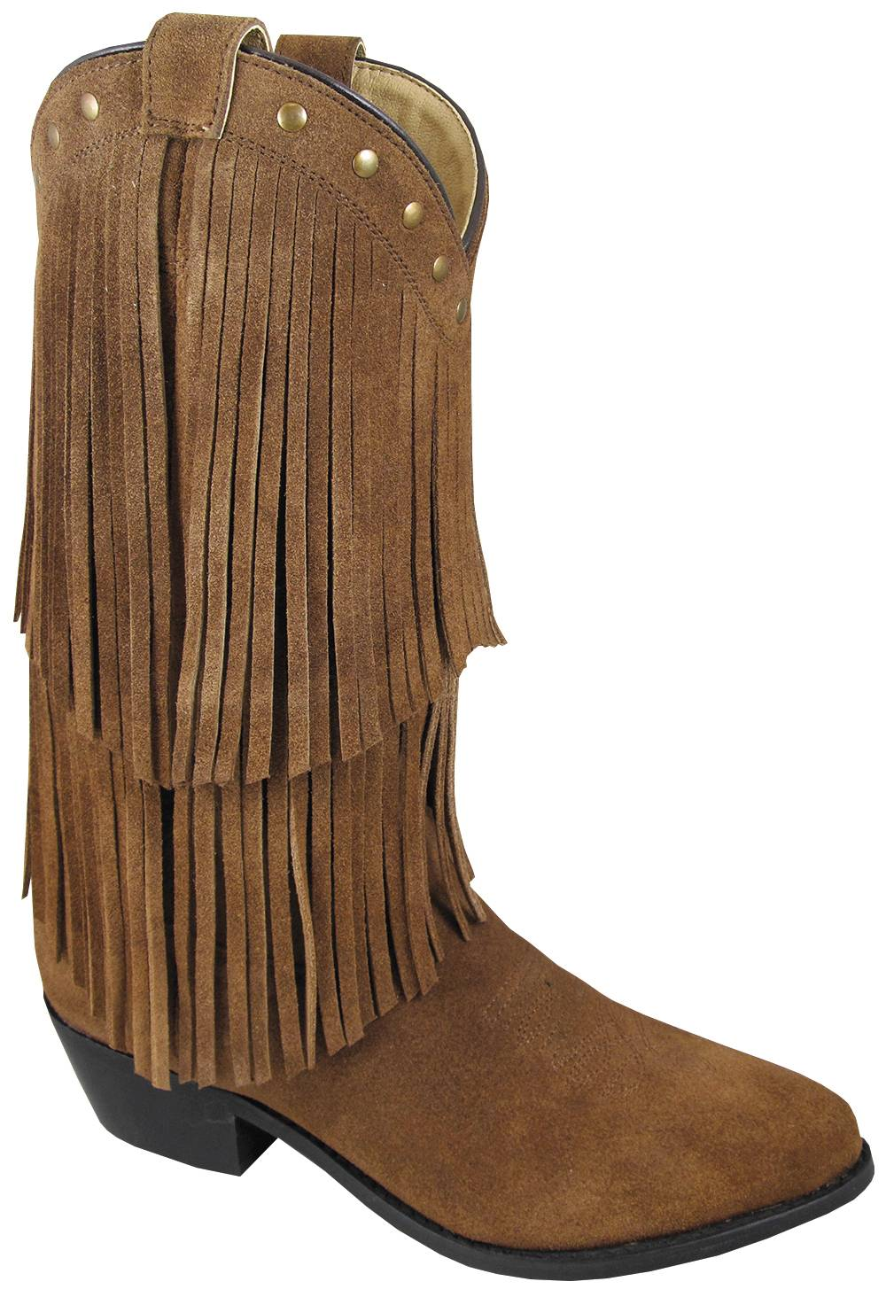 Smoky Mountain Womens Wisteria Double Fringe Leather Boots - Brown