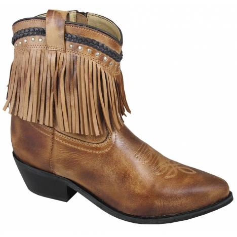 "Smoky Mountain Womens Torrance Leather 7"" Fringe Boots - Tan"