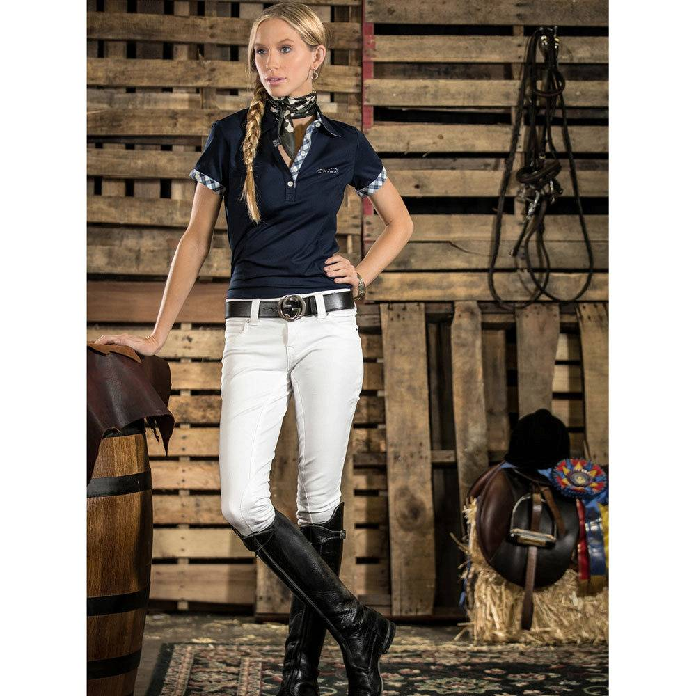 2KGrey Pas Op Knee Patch Riding Breeches