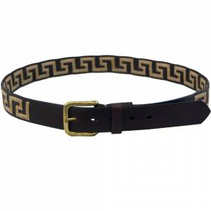 WOW Greek Key Brown Leather Belt -Tan Key
