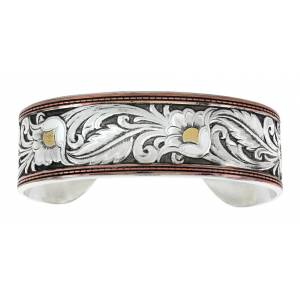 Montana Silversmiths LeatherCut Tri-Colored Floral Cuff Bracelet
