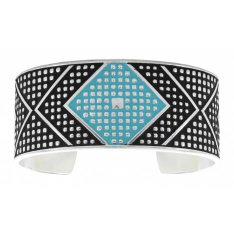 Montana Silversmiths Cross Cut Turquoise Bead & Chevron Medium Cuff Bracelet