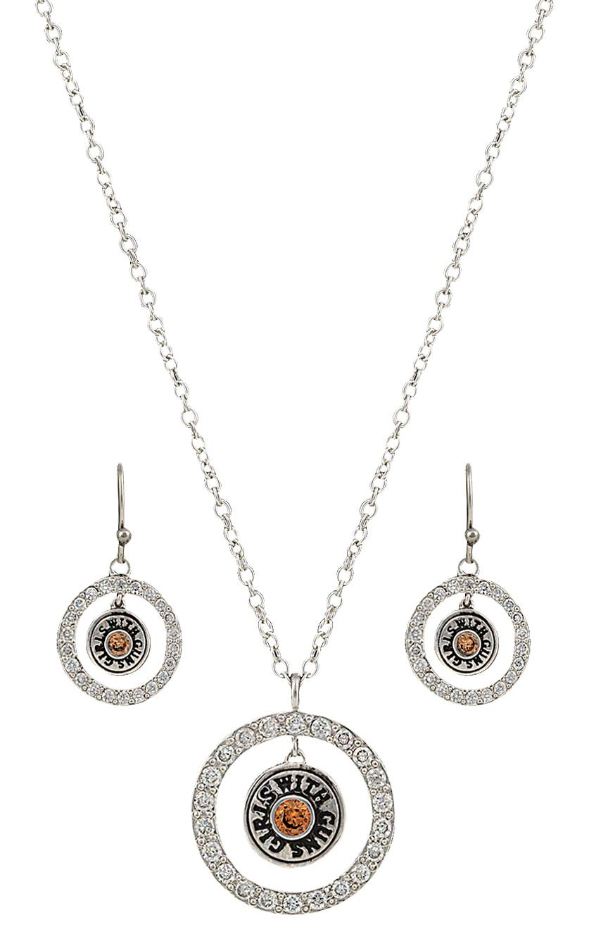Montana Silversmiths Girls with Guns Encircled Back of the Bullet Charm Jewelry Set