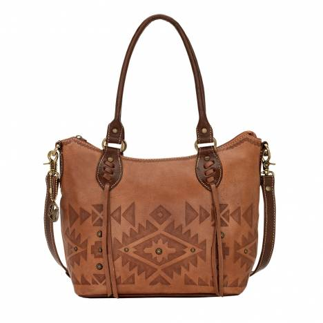 AMERICAN WEST Mystic Shadow Convertible Zip Top Bucket Tote - Tan