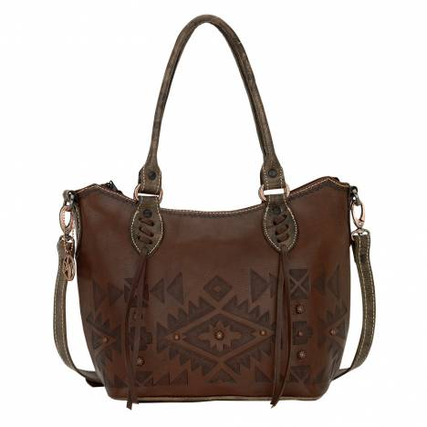 AMERICAN WEST Mystic Shadow Convertible Zip Top Bucket Tote - Chestnut Brown
