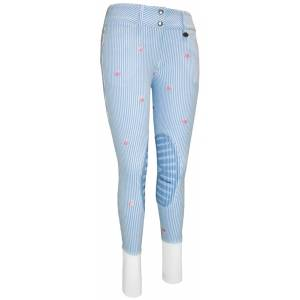 Equine Couture Ladies Stripe Whales Knee Patch Breech