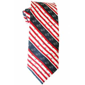 LILO Abington Patriotic Horses & Horse Shoes Equestrian Silk Neck Tie
