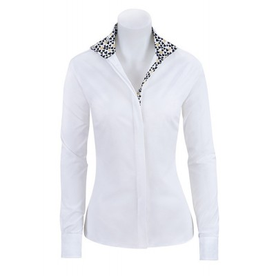 RJ Classics Ladies Prestige Show Shirt - White/Black&Gold Hearts