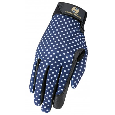 Heritage Perfomance Gloves - Navy Polka Dots