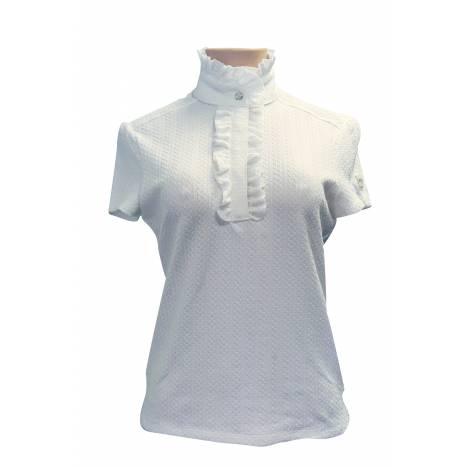 FITS Ruffles Short Sleeve Show Shirt - Ladies - White