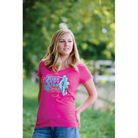 Genuine Ranch Ride Baby Ride V-Neck Tee - Ladies