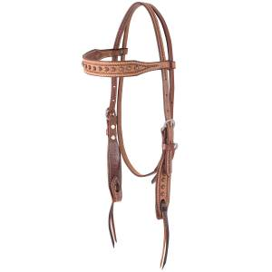Martin Rope Border And Dots Browband Headstall- Natural