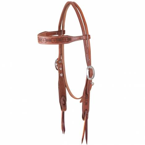Martin Scroll Design Browband Headstall- Chestnut