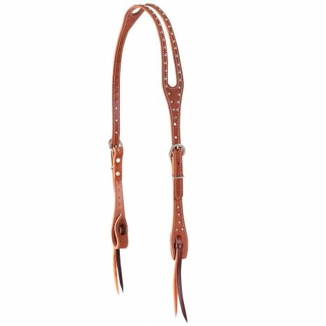 Martin Split Ear Roughout & Dots Headstall-Chestnut