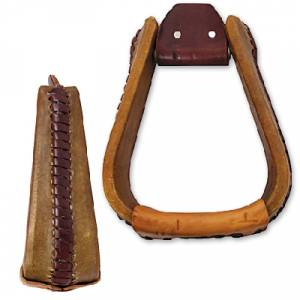 Martin Extra Wide Rawhide Covered Roper Stirrup- 3
