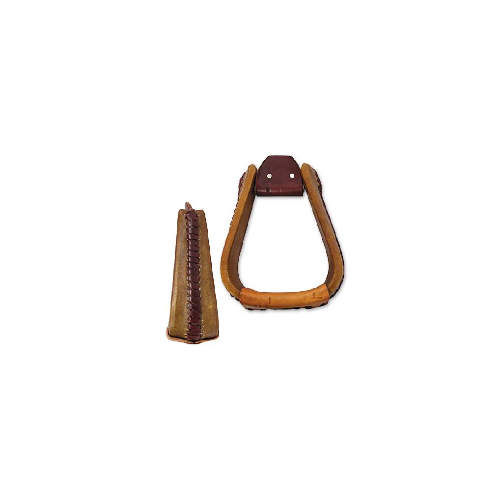 Martin Extra Wide Rawhide Covered Roper Stirrup- 3'', Natural