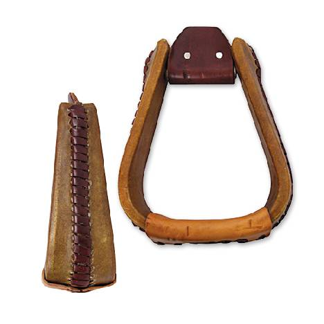 "Martin Extra Wide Rawhide Covered Roper Stirrup- 3"", Natural"
