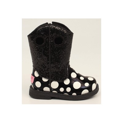 Blazin Roxx Lil Pearl Polka Dot Western Boot - Toddler Girls, Black with Polka Dots