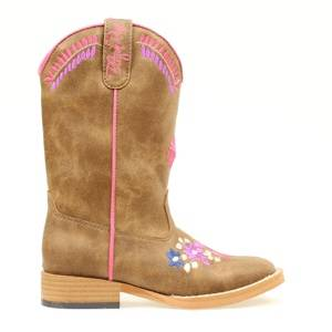 Blazin Roxx Sashay Floral Embroidered Western Boot - Girls, Brown